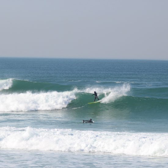 Our guided surf adventures include coaching for all levels. Here we were working on the frontside carve.