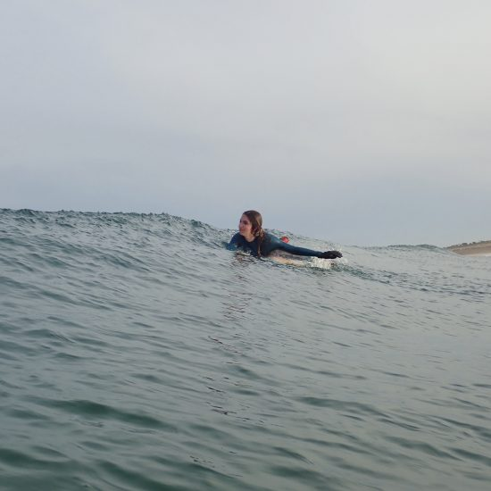 We are paddling, learning how to take green waves, how to create surf in every situations