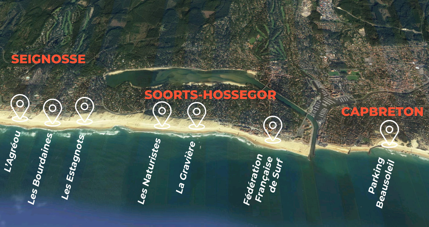 Surf Guides - Seignosse, Hossegor et Capreton - Plan des meeting points