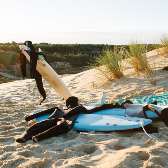 Surf Guides - Group Surf Lesson - Surf Boards on the Hossegor beach